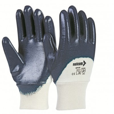 MPKB, Cut & Sewn Nitrile Gloves for mallcom Hand protection. It is Palm coated nitrile gloves