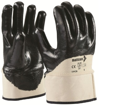 TPCB, Cut & Sewn Nitrile Gloves for mallcom Hand protection. It is Palm coated nitrile gloves