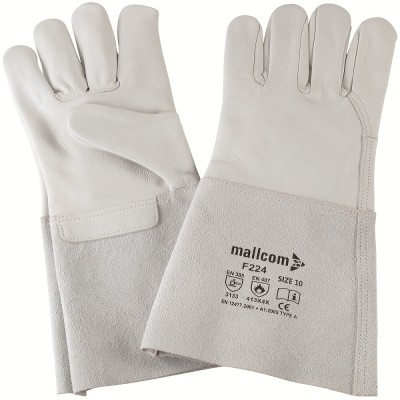 F224, Welder Leather Gloves for mallcom Hand protection. It is Leather gloves