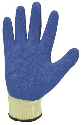 L210B, Seamless Latex Gloves for mallcom Hand protection. It is Blue latex coated glove