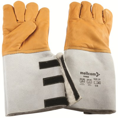 H468, Welder Leather Gloves for mallcom Hand protection. It is Full grain welder glove