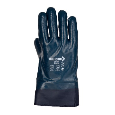 DFRB, Cut & Sewn Nitrile Gloves for mallcom Hand protection. It is Nitrile glove