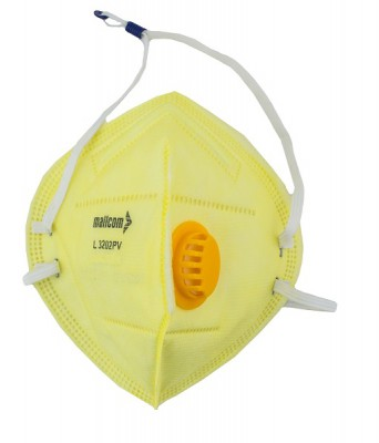 L3202PV, Foldable Disposable Respiratory Mask for mallcom Head protection. It is Disposable Respirator Mask