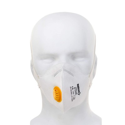 M1202PV, Foldable Disposable Respiratory Mask for mallcom Head protection. It is FFP2 mask with valve