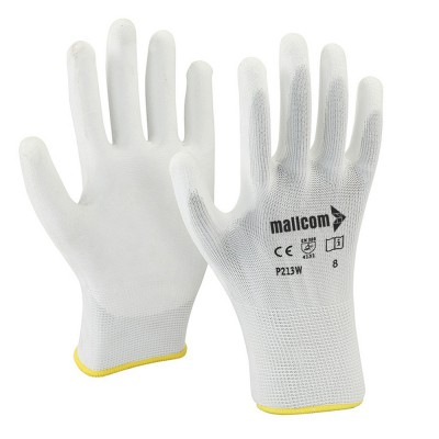 P213W, Seamless for mallcom Hand protection. It is White PU gloves