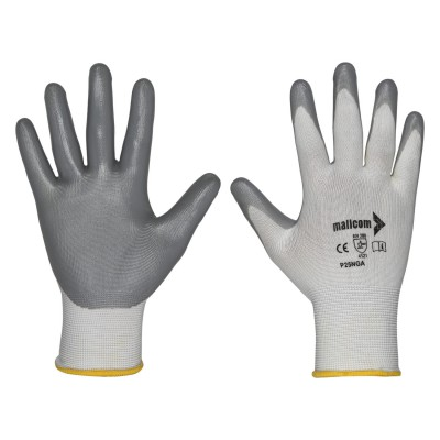 P25NGA, Seamless Nitrile Gloves for mallcom Hand protection. It is Seamless nitrile dipped gloves