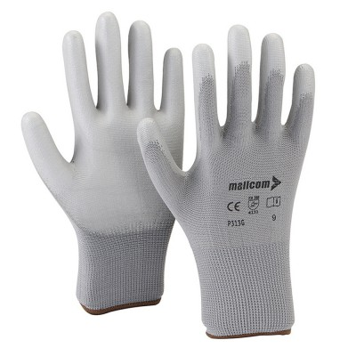 P313G, Seamless for mallcom Hand protection. It is Grey PU glove