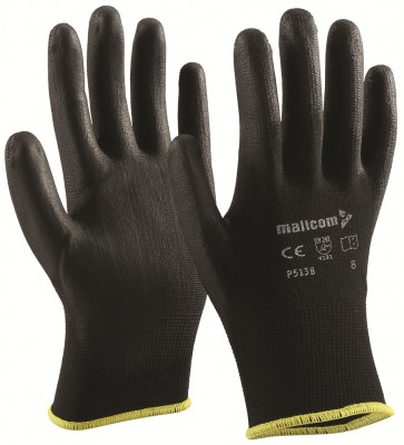 P513B, Seamless for mallcom Hand protection. It is Polyurethane coated gloves